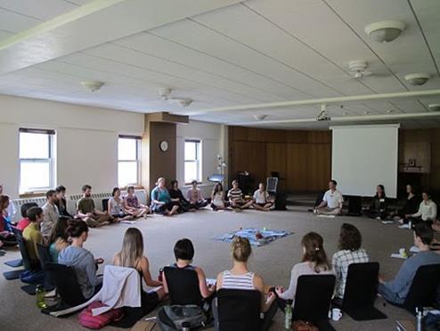 Morning meditation circle at LEAPS