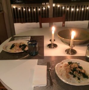 WFPB meal by candlelight Nancy Coppelman